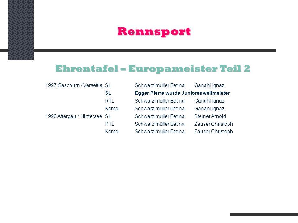 Rennsport Ehrentafel – Europameister Teil 2 1997 Gaschurn / VersettlaSLSchwarzlmüller Betina Ganahl Ignaz SL Egger Pierre wurde Juniorenweltmeister RT