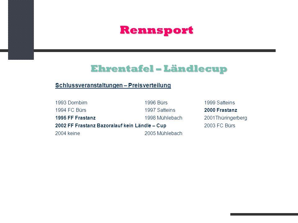 Rennsport Ehrentafel – Ländlecup Schlussveranstaltungen – Preisverteilung 1993 Dornbirn 1996 Bürs 1999 Satteins 1994 FC Bürs 1997 Satteins2000 Frastan