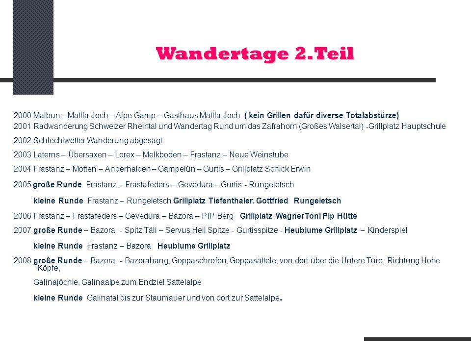 Wandertage 2.Teil 2000 Malbun – Mattla Joch – Alpe Gamp – Gasthaus Mattla Joch ( kein Grillen dafür diverse Totalabstürze) 2001 Radwanderung Schweizer