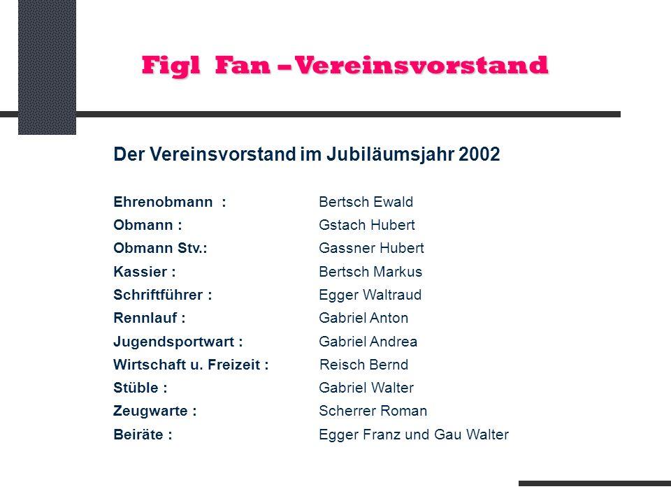 Der Vereinsvorstand im Jubiläumsjahr 2002 Ehrenobmann : Bertsch Ewald Obmann : Gstach Hubert Obmann Stv.: Gassner Hubert Kassier : Bertsch Markus Schr