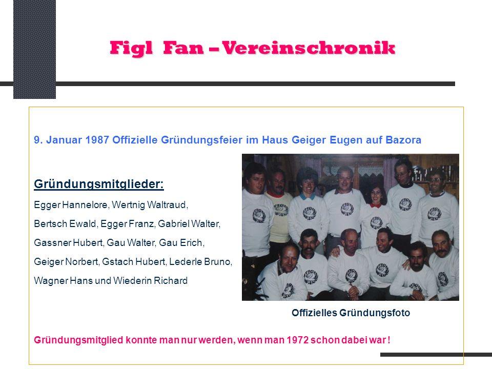 Figl Fan – Vereinschronik 9. Januar 1987 Offizielle Gründungsfeier im Haus Geiger Eugen auf Bazora Gründungsmitglieder: Egger Hannelore, Wertnig Waltr