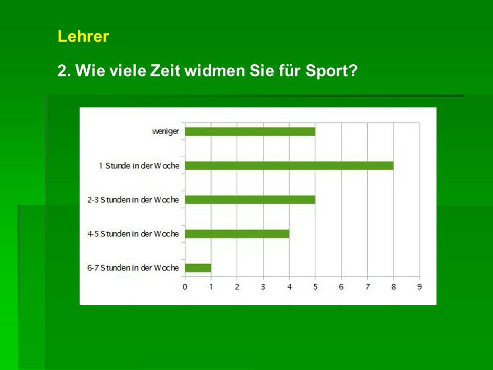 Lehrer 2. Wie viele Zeit widmen Sie für Sport?