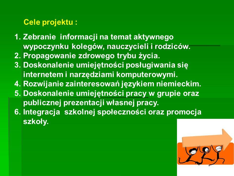 Cele projektu : 1.Zebranie informacji na temat aktywnego wypoczynku kolegów, nauczycieli i rodziców. 2.Propagowanie zdrowego trybu życia. 3.Doskonalen