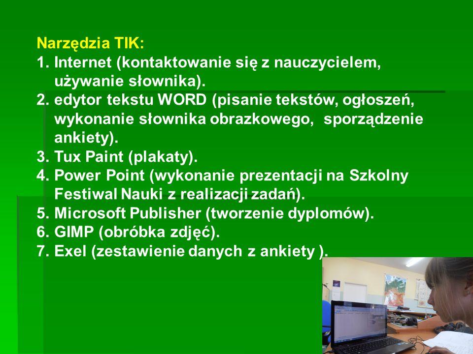 Narzędzia TIK: 1.Internet (kontaktowanie się z nauczycielem, używanie słownika). 2.edytor tekstu WORD (pisanie tekstów, ogłoszeń, wykonanie słownika o
