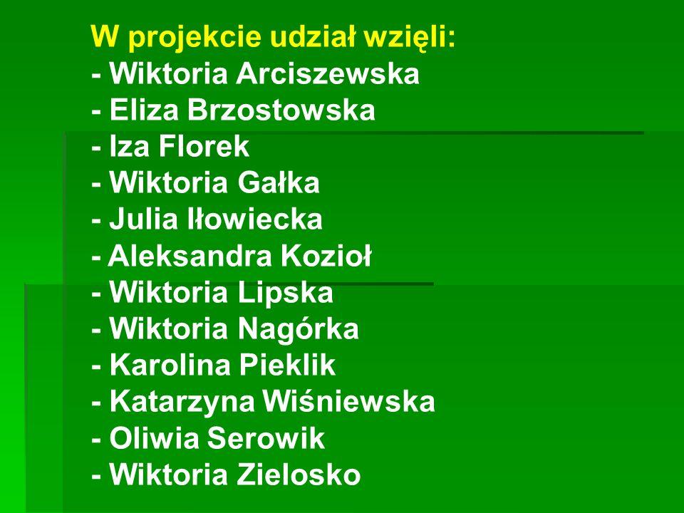 W projekcie udział wzięli: - Wiktoria Arciszewska - Eliza Brzostowska - Iza Florek - Wiktoria Gałka - Julia Iłowiecka - Aleksandra Kozioł - Wiktoria L