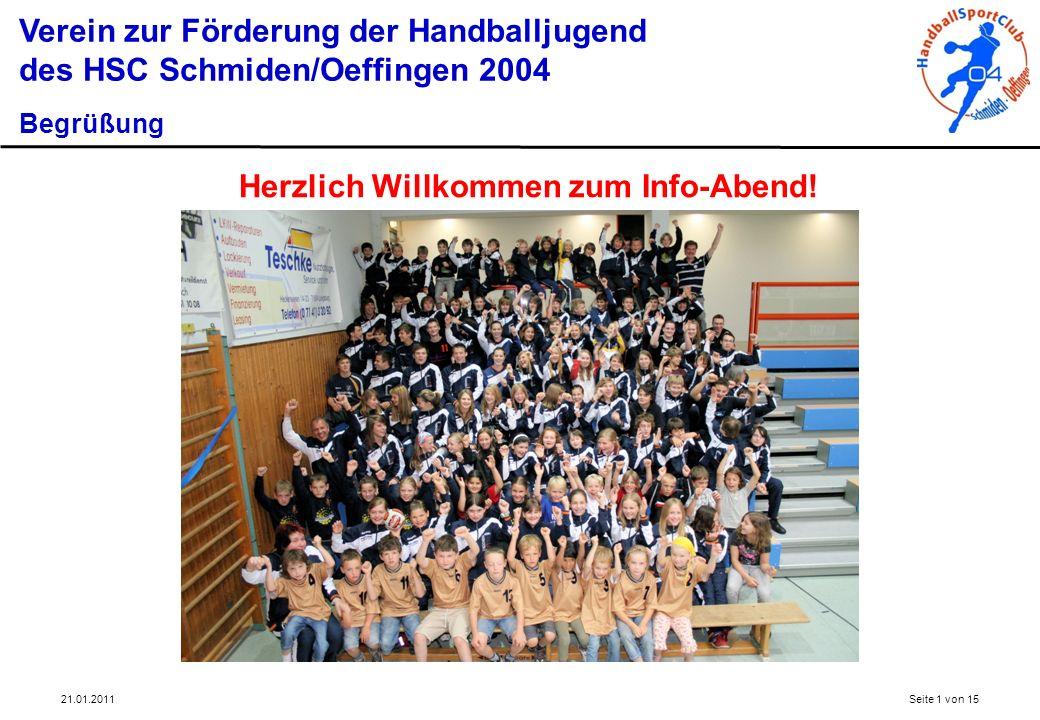 21.01.2011Seite 1 von 15 Verein zur Förderung der Handballjugend des HSC Schmiden/Oeffingen 2004 Begrüßung Herzlich Willkommen zum Info-Abend!