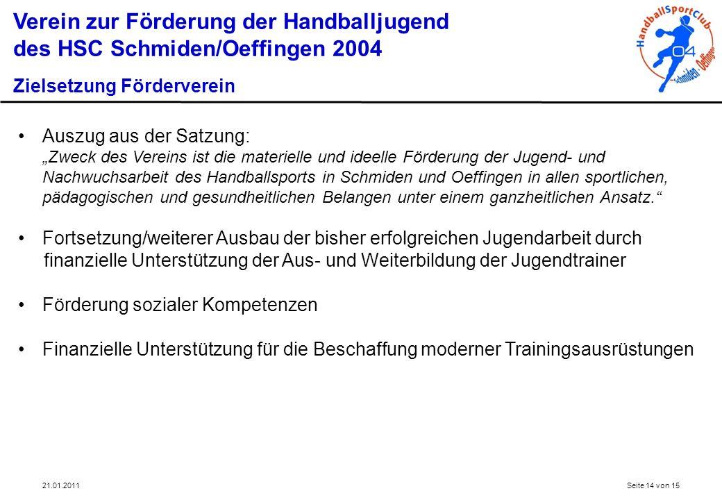 21.01.2011Seite 14 von 15 Verein zur Förderung der Handballjugend des HSC Schmiden/Oeffingen 2004 Zielsetzung Förderverein Auszug aus der Satzung: Zwe