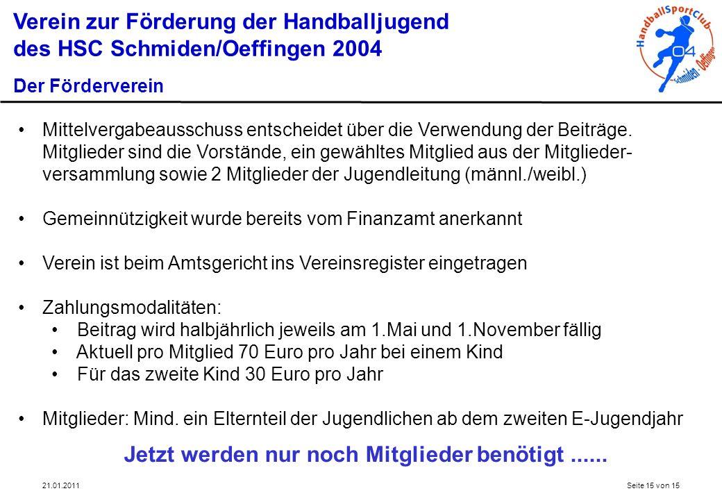 Verein zur Förderung der Handballjugend des HSC Schmiden/Oeffingen 2004 Der Förderverein Mittelvergabeausschuss entscheidet über die Verwendung der Be