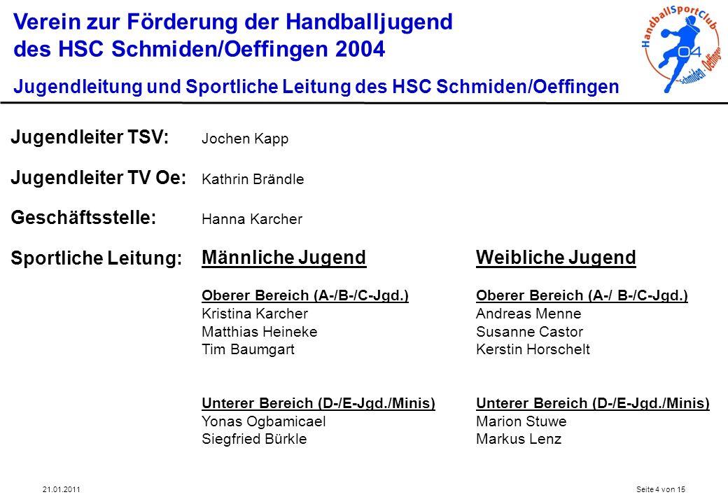21.01.2011Seite 4 von 15 Verein zur Förderung der Handballjugend des HSC Schmiden/Oeffingen 2004 Jugendleitung und Sportliche Leitung des HSC Schmiden