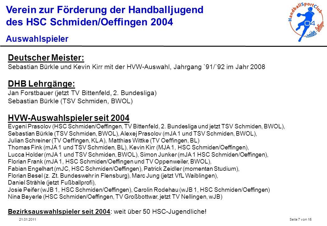 21.01.2011Seite 8 von 15 Verein zur Förderung der Handballjugend des HSC Schmiden/Oeffingen 2004 Schiedsrichter, Elternvertreter, Geschäftsstelle und Veranstaltungen Schiedsrichter Jedes Jahr können Jugendliche für die verantwortungsvolle Aufgabe als Schiedsrichter gewonnen werden.
