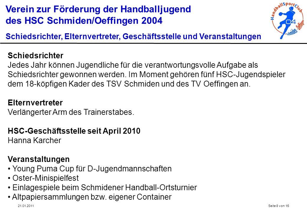 21.01.2011Seite 8 von 15 Verein zur Förderung der Handballjugend des HSC Schmiden/Oeffingen 2004 Schiedsrichter, Elternvertreter, Geschäftsstelle und
