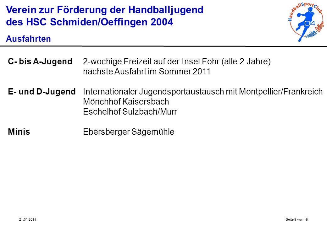 21.01.2011Seite 9 von 15 Verein zur Förderung der Handballjugend des HSC Schmiden/Oeffingen 2004 Ausfahrten C- bis A-Jugend2-wöchige Freizeit auf der