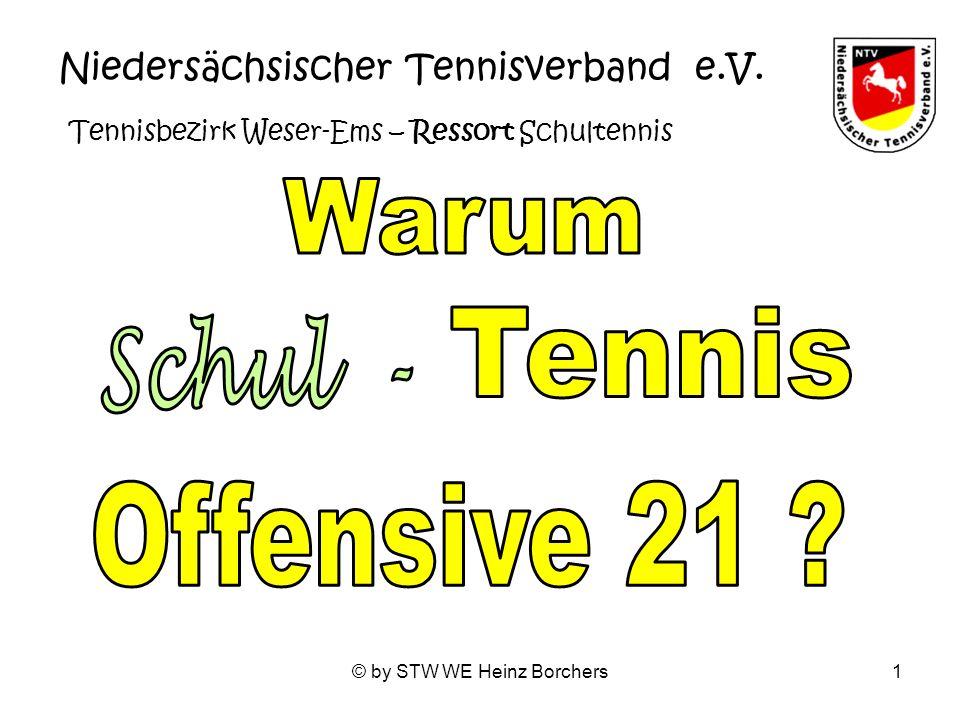 © by STW WE Heinz Borchers1 Niedersächsischer Tennisverband e.V. Tennisbezirk Weser-Ems – Ressort Schultennis