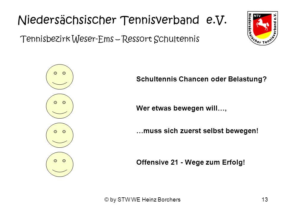 © by STW WE Heinz Borchers13 Niedersächsischer Tennisverband e.V. Tennisbezirk Weser-Ems – Ressort Schultennis Schultennis Chancen oder Belastung? Off