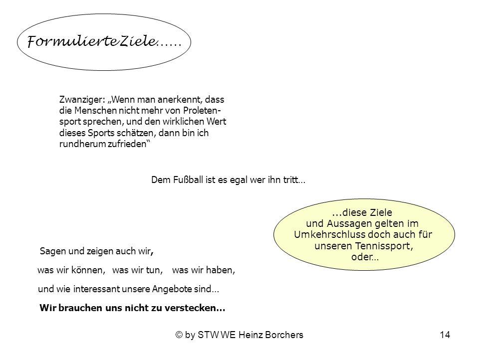 © by STW WE Heinz Borchers14 Formulierte Ziele…… Zwanziger: Wenn man anerkennt, dass die Menschen nicht mehr von Proleten- sport sprechen, und den wir
