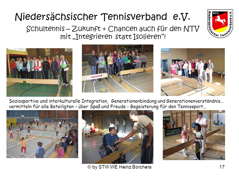 © by STW WE Heinz Borchers17 Niedersächsischer Tennisverband e.V. Schultennis – Zukunft + Chancen auch für den NTV mit Integrieren statt Isolieren! So