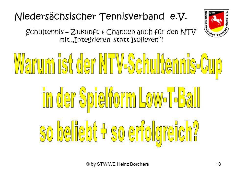 © by STW WE Heinz Borchers18 Niedersächsischer Tennisverband e.V. Schultennis – Zukunft + Chancen auch für den NTV mit Integrieren statt Isolieren!