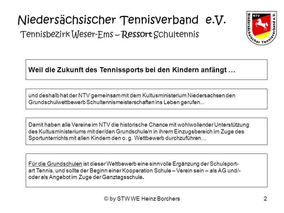 © by STW WE Heinz Borchers23 Niedersächsicher Tennisverband – Tennisbezirk Weser-Ems / Ressort Schultennis Faszination Low-T-Ball Das Kleine Tennis mit dem großen Ball Das Low-T-Ball-Spiel ist ein Rückschlagspiel, das altersunabhängig von jung und alt, ohne Vorkenntnisse, miteinander und gegeneinander, nach vorgegebenen Regeln und nach eigenen Spielformen mit der Hand und oder mit jeweils alters- gerechten Tennisschlägern gespielt und erlebt werden kann.