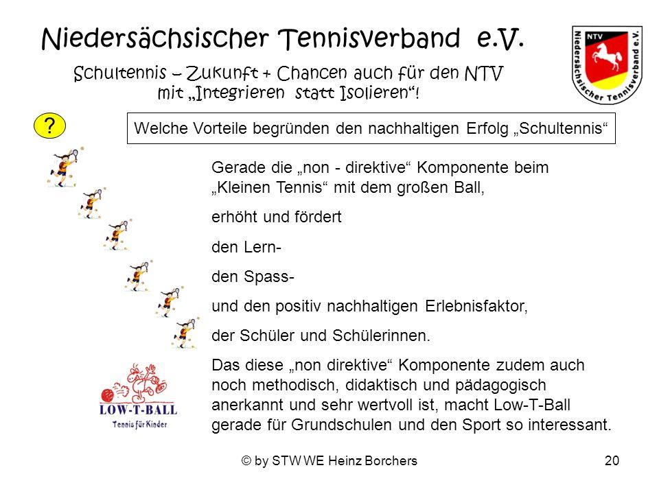 © by STW WE Heinz Borchers20 Niedersächsischer Tennisverband e.V. Schultennis – Zukunft + Chancen auch für den NTV mit Integrieren statt Isolieren! Ge