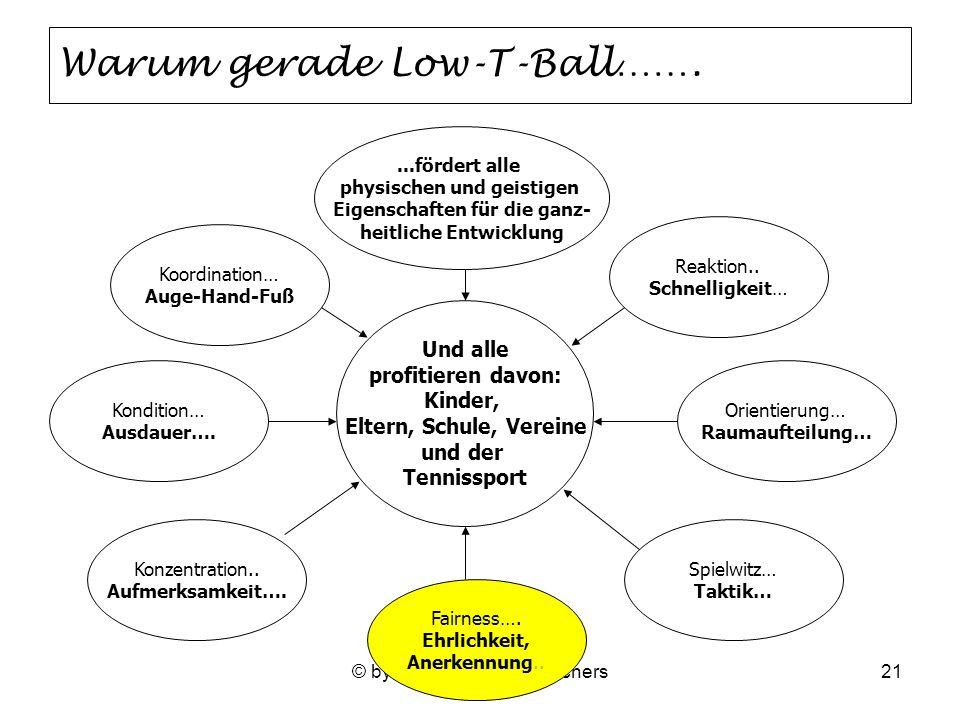 © by STW WE Heinz Borchers21 Warum gerade Low-T-Ball……. Koordination… Auge-Hand-Fuß Kondition… Ausdauer…. Orientierung… Raumaufteilung… Und alle profi