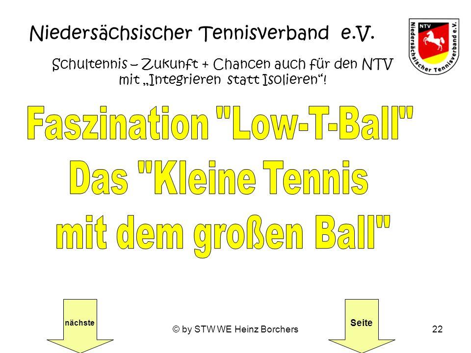 © by STW WE Heinz Borchers22 Niedersächsischer Tennisverband e.V. Schultennis – Zukunft + Chancen auch für den NTV mit Integrieren statt Isolieren! nä
