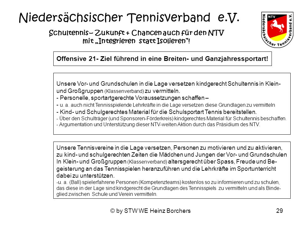 © by STW WE Heinz Borchers29 Niedersächsischer Tennisverband e.V. Schultennis – Zukunft + Chancen auch für den NTV mit Integrieren statt Isolieren! Of