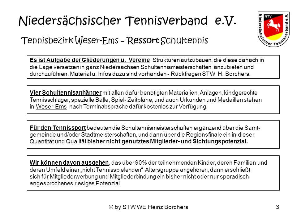 © by STW WE Heinz Borchers3 Niedersächsischer Tennisverband e.V. Tennisbezirk Weser-Ems – Ressort Schultennis Es ist Aufgabe der Gliederungen u. Verei