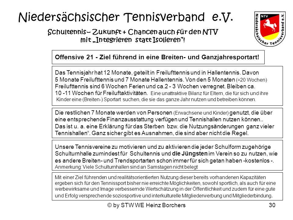 © by STW WE Heinz Borchers30 Niedersächsischer Tennisverband e.V. Schultennis – Zukunft + Chancen auch für den NTV mit Integrieren statt Isolieren! Of