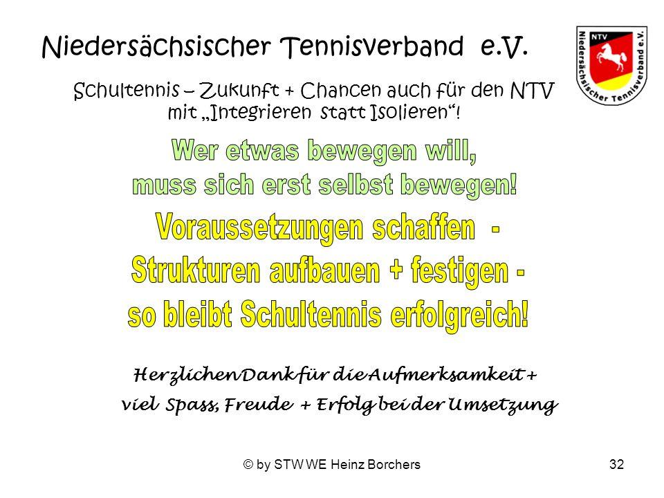 © by STW WE Heinz Borchers32 Niedersächsischer Tennisverband e.V. Schultennis – Zukunft + Chancen auch für den NTV mit Integrieren statt Isolieren! He