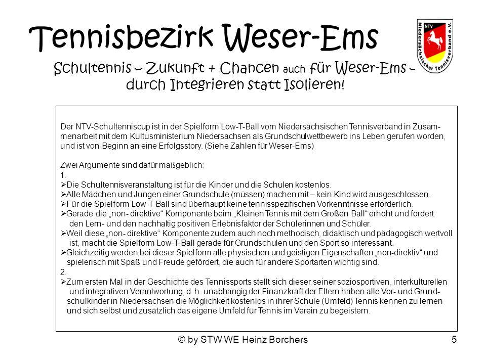 © by STW WE Heinz Borchers5 Tennisbezirk Weser-Ems Schultennis – Zukunft + Chancen auch für Weser-Ems – durch Integrieren statt Isolieren! Der NTV-Sch