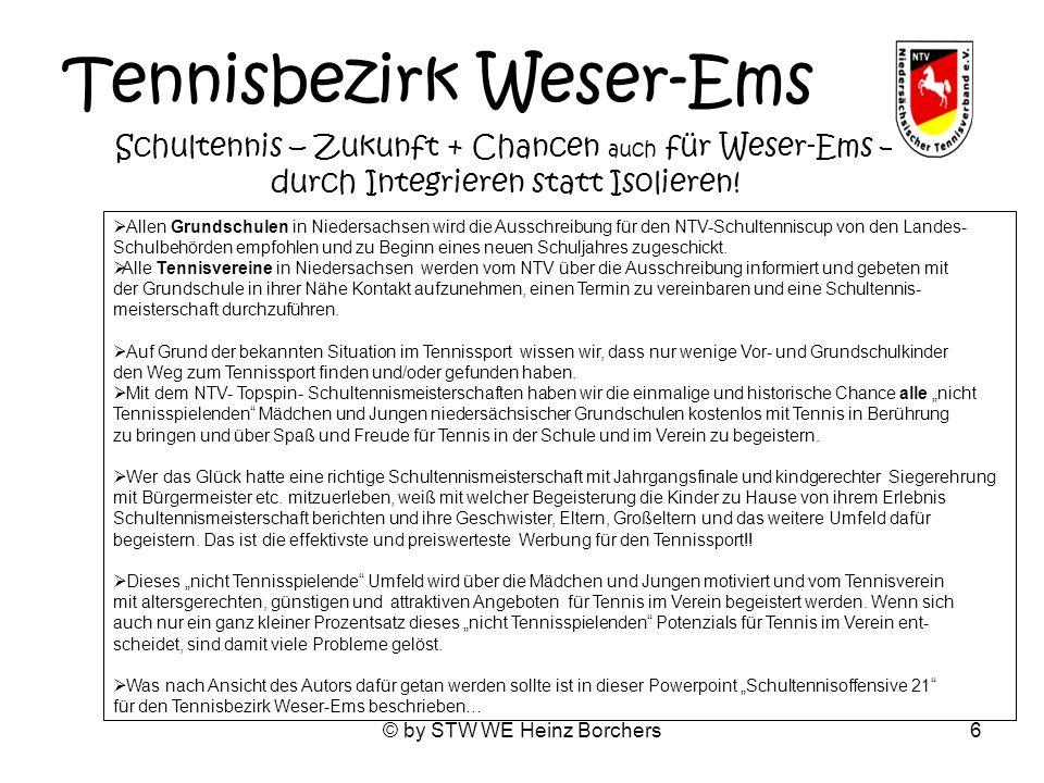 © by STW WE Heinz Borchers6 Tennisbezirk Weser-Ems Schultennis – Zukunft + Chancen auch für Weser-Ems – durch Integrieren statt Isolieren! Allen Grund