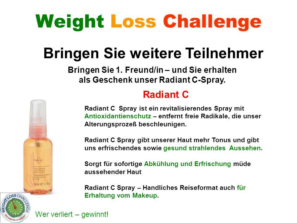 Wer verliert – gewinnt! Weight Loss Challenge Radiant C Radiant C Spray ist ein revitalisierendes Spray mit Antioxidantienschutz – entfernt freie Radi