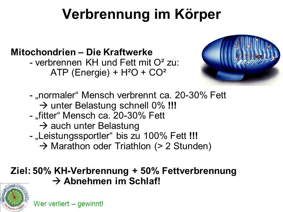 Wer verliert – gewinnt! Verbrennung im Körper Mitochondrien – Die Kraftwerke - verbrennen KH und Fett mit O² zu: ATP (Energie) + H²O + CO² - normaler