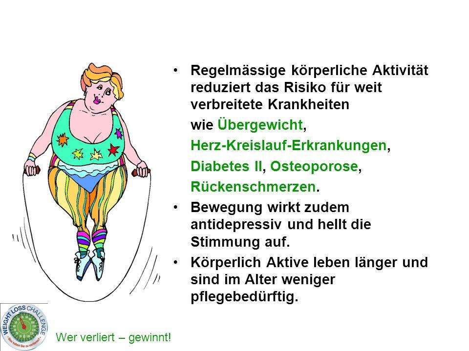 Wer verliert – gewinnt! Regelmässige körperliche Aktivität reduziert das Risiko für weit verbreitete Krankheiten wie Übergewicht, Herz-Kreislauf-Erkra