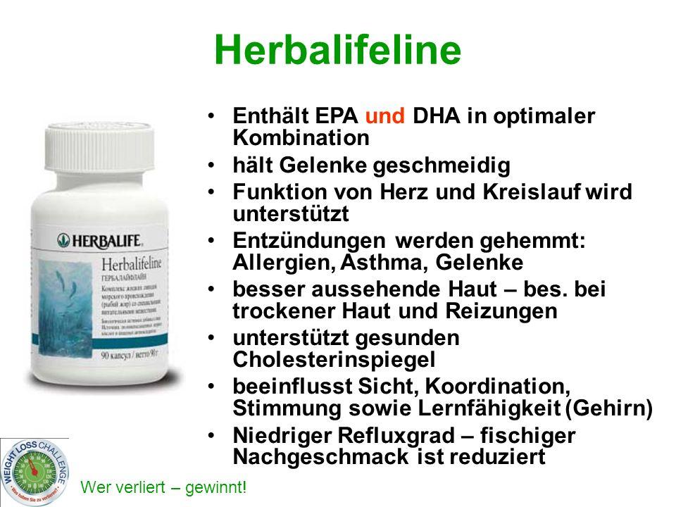 Wer verliert – gewinnt! Herbalifeline Enthält EPA und DHA in optimaler Kombination hält Gelenke geschmeidig Funktion von Herz und Kreislauf wird unter