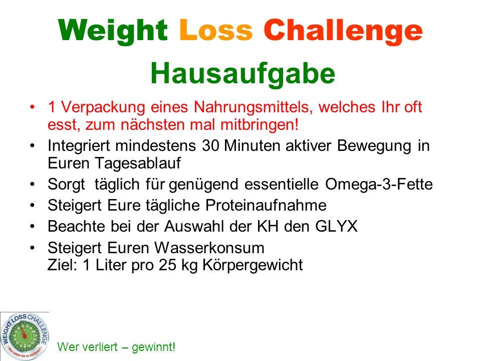 Wer verliert – gewinnt! Weight Loss Challenge Hausaufgabe 1 Verpackung eines Nahrungsmittels, welches Ihr oft esst, zum nächsten mal mitbringen! Integ
