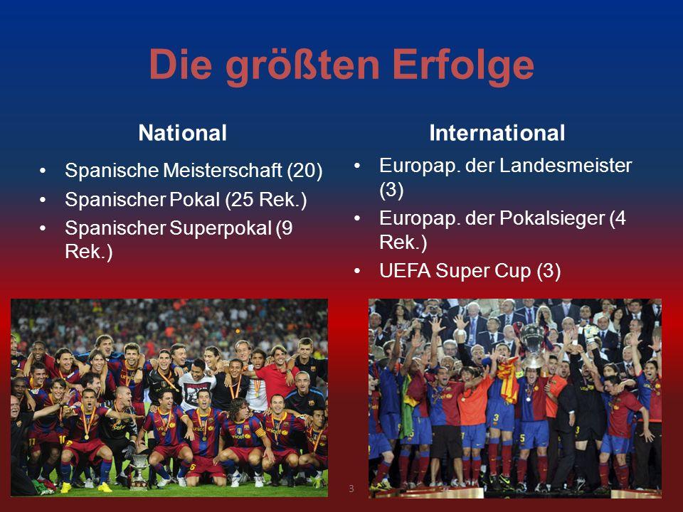 Die größten Erfolge NationalInternational Europap. der Landesmeister (3) Europap. der Pokalsieger (4 Rek.) UEFA Super Cup (3) Spanische Meisterschaft