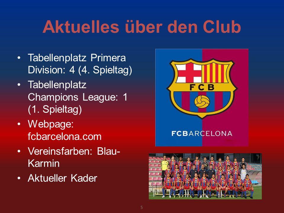 Aktuelles über den Club Tabellenplatz Primera Division: 4 (4. Spieltag) Tabellenplatz Champions League: 1 (1. Spieltag) Webpage: fcbarcelona.com Verei