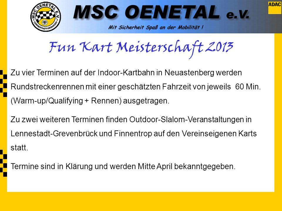 Zu vier Terminen auf der Indoor-Kartbahn in Neuastenberg werden Rundstreckenrennen mit einer geschätzten Fahrzeit von jeweils 60 Min.