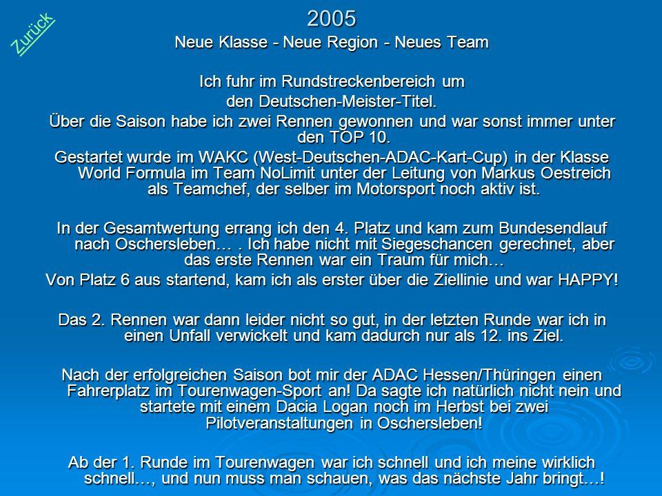 2005 Neue Klasse - Neue Region - Neues Team Ich fuhr im Rundstreckenbereich um den Deutschen-Meister-Titel. Über die Saison habe ich zwei Rennen gewon