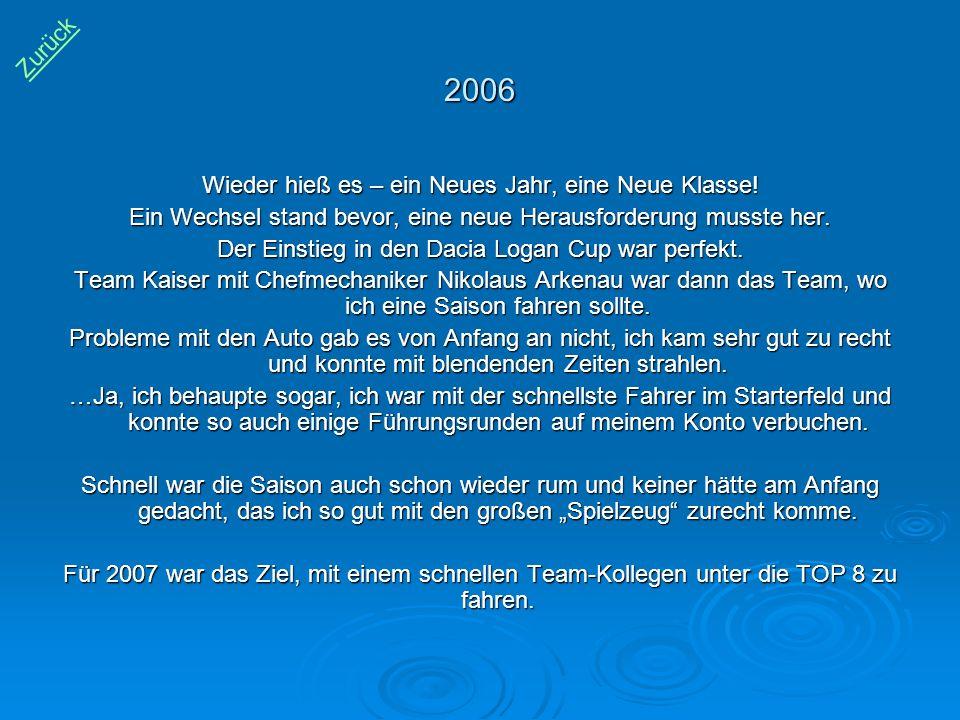 2006 Wieder hieß es – ein Neues Jahr, eine Neue Klasse! Ein Wechsel stand bevor, eine neue Herausforderung musste her. Der Einstieg in den Dacia Logan