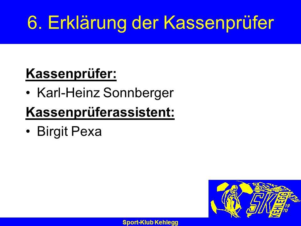 Sport-Klub Kehlegg 6. Erklärung der Kassenprüfer Kassenprüfer: Karl-Heinz Sonnberger Kassenprüferassistent: Birgit Pexa