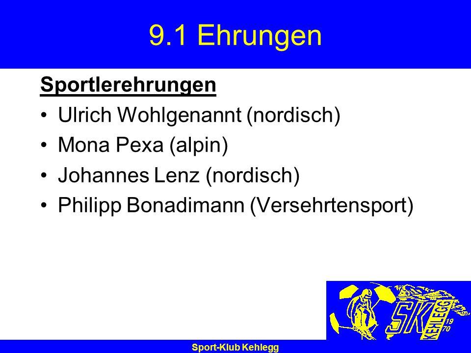 Sport-Klub Kehlegg 9.1 Ehrungen Sportlerehrungen Ulrich Wohlgenannt (nordisch) Mona Pexa (alpin) Johannes Lenz (nordisch) Philipp Bonadimann (Versehrt
