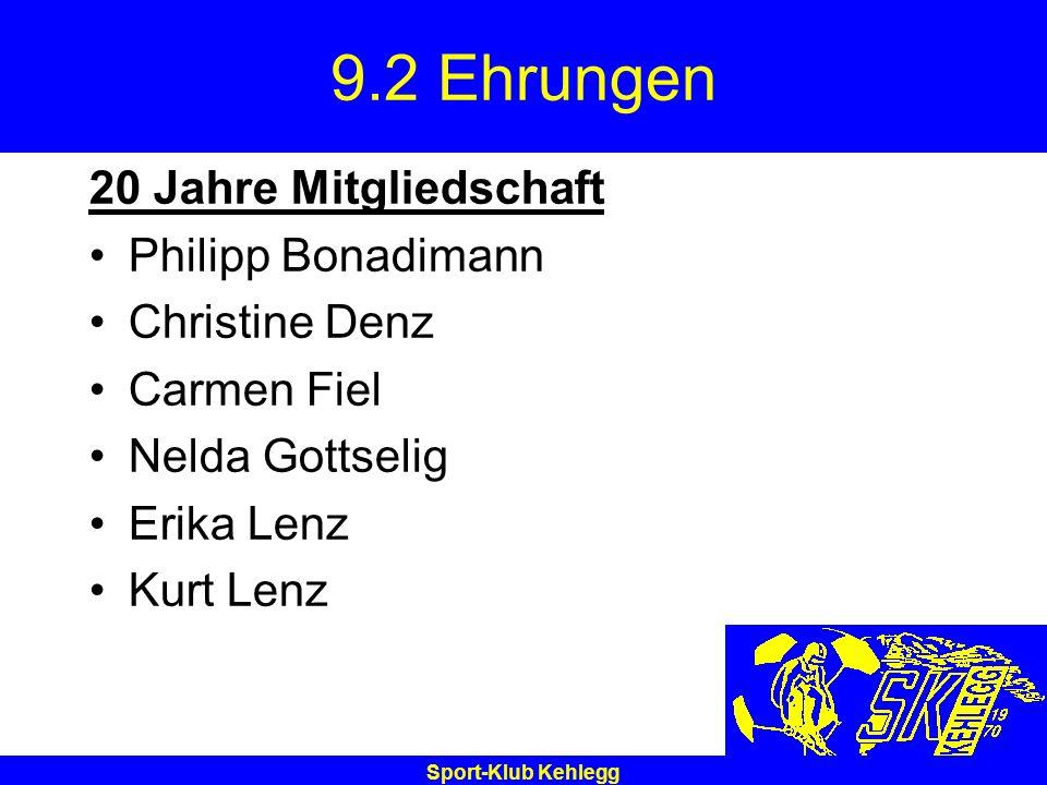Sport-Klub Kehlegg 9.2 Ehrungen 20 Jahre Mitgliedschaft Philipp Bonadimann Christine Denz Carmen Fiel Nelda Gottselig Erika Lenz Kurt Lenz