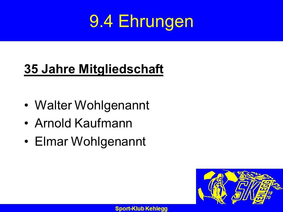 Sport-Klub Kehlegg 9.4 Ehrungen 35 Jahre Mitgliedschaft Walter Wohlgenannt Arnold Kaufmann Elmar Wohlgenannt