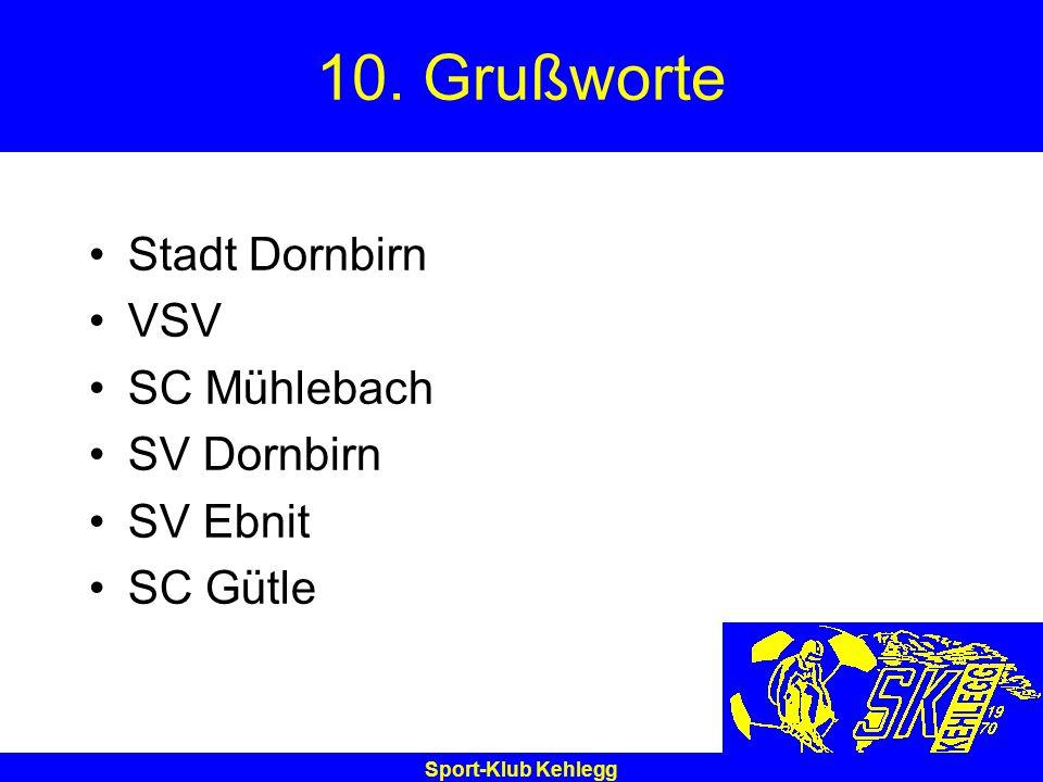 Sport-Klub Kehlegg 10. Grußworte Stadt Dornbirn VSV SC Mühlebach SV Dornbirn SV Ebnit SC Gütle