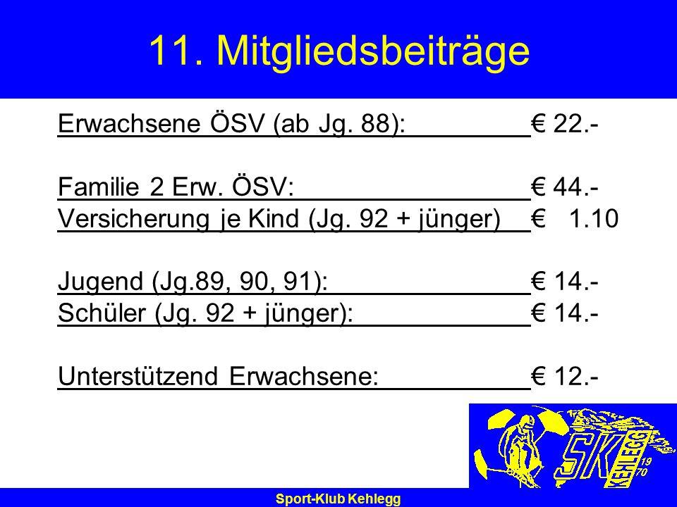 Sport-Klub Kehlegg 11. Mitgliedsbeiträge Erwachsene ÖSV (ab Jg. 88): 22.- Familie 2 Erw. ÖSV: 44.- Versicherung je Kind (Jg. 92 + jünger) 1.10 Jugend