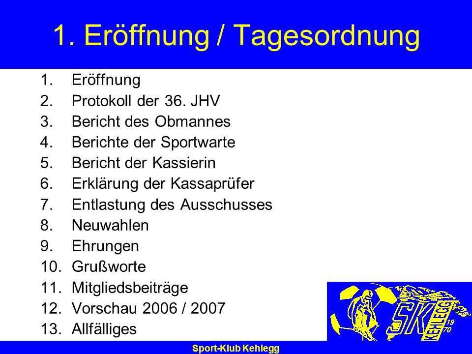 Sport-Klub Kehlegg 1. Eröffnung / Tagesordnung 1.Eröffnung 2.Protokoll der 36. JHV 3.Bericht des Obmannes 4.Berichte der Sportwarte 5.Bericht der Kass