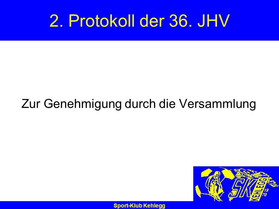 Sport-Klub Kehlegg 2. Protokoll der 36. JHV Zur Genehmigung durch die Versammlung