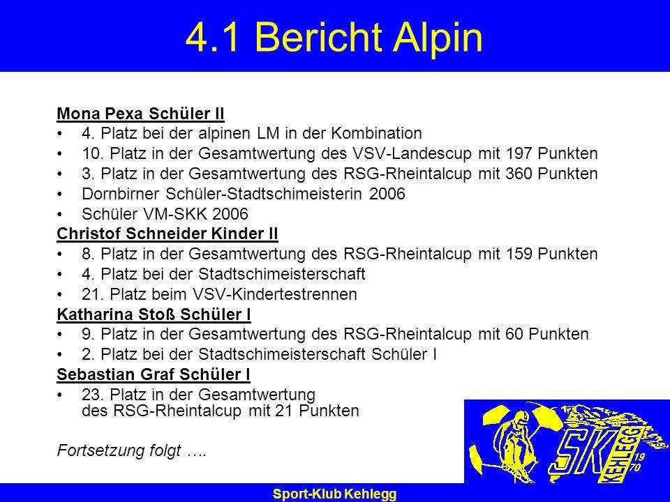 Sport-Klub Kehlegg 4.1 Bericht Alpin Mona Pexa Schüler II 4. Platz bei der alpinen LM in der Kombination 10. Platz in der Gesamtwertung des VSV-Landes